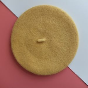 Accessories - Wool Winter Thick Felt French Beret- Pastel Yellow